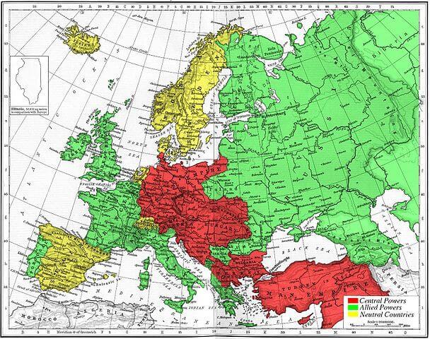 Mapa 1914 Poderes Centrales Aliados y Neutrales